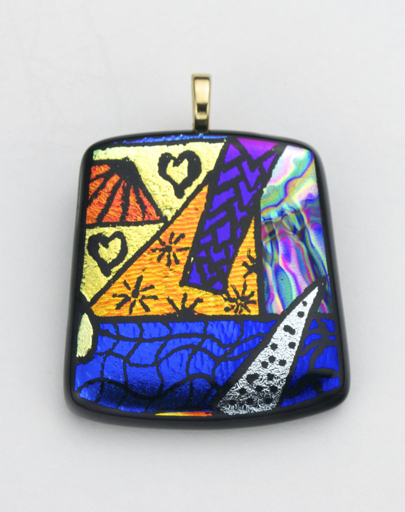 Fused Glass - Picasso Pendant - SOLD