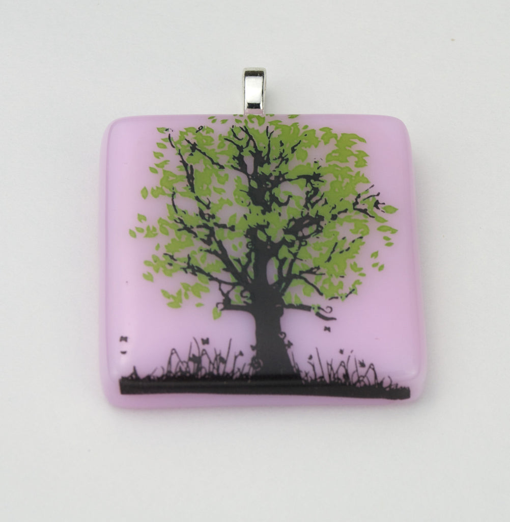 Fused Glass - Green Leaf Tree Pendant