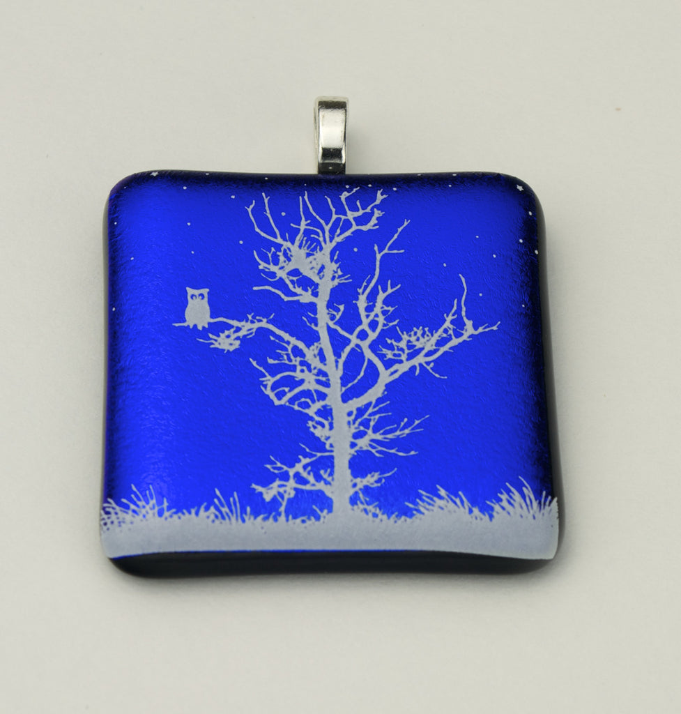 Fused Glass - Winter White Tree with an Owl Pendant