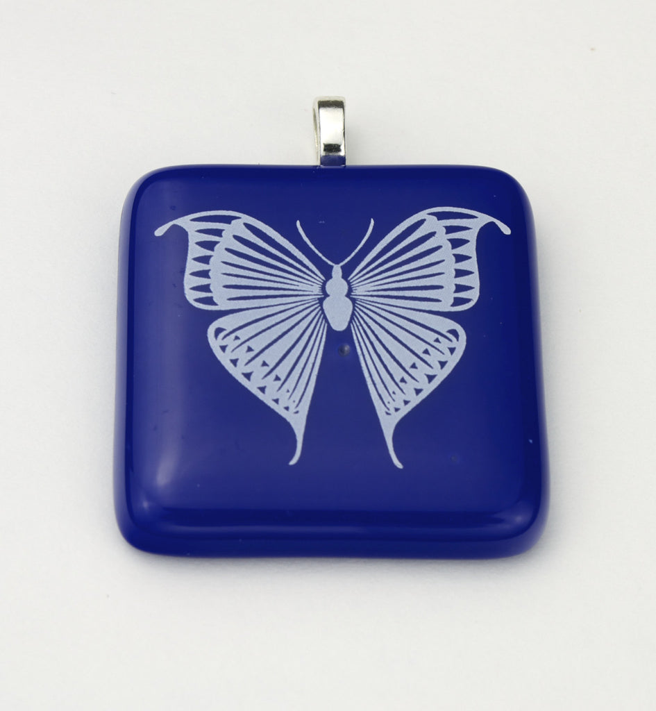 Fused Glass - White Butterfly Pendant