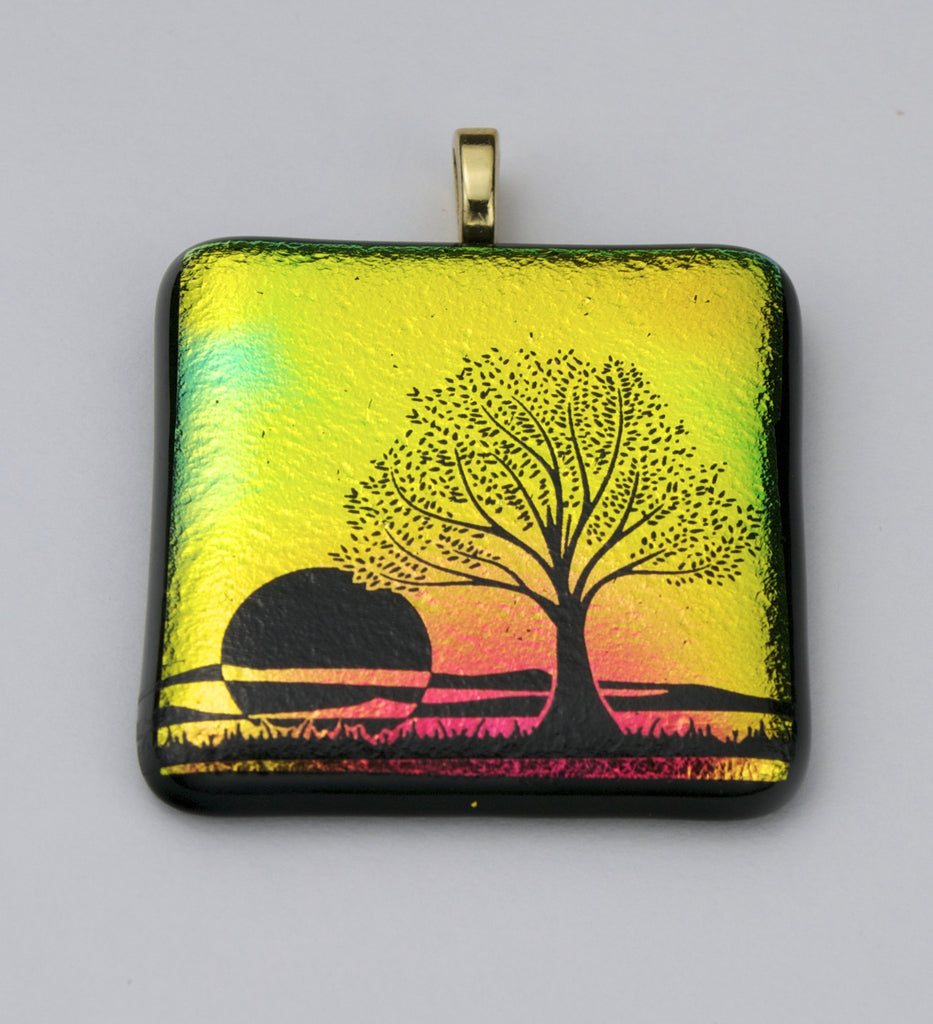 Fused Glass - Tree and Sunset Pendant