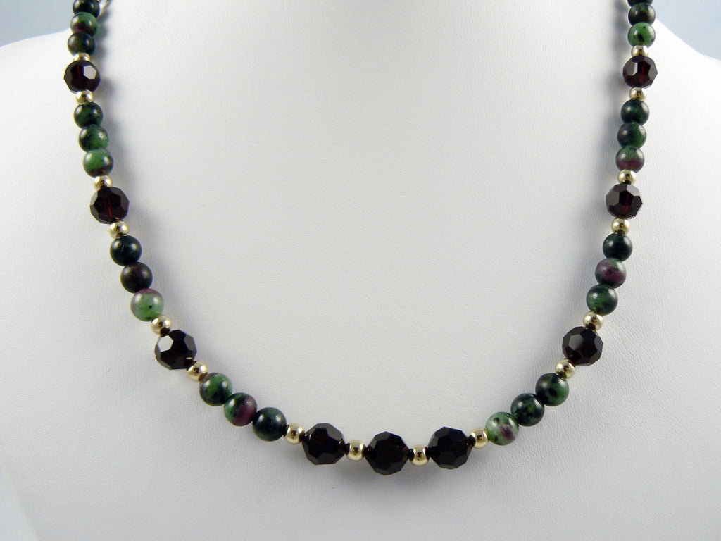 Ruby Zoisite and Swarovski Necklace - SOLD