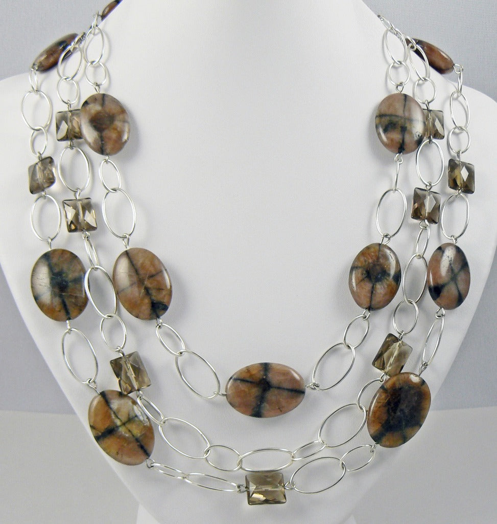 Jasper and Quartz Triple Strand Necklace - SOLD