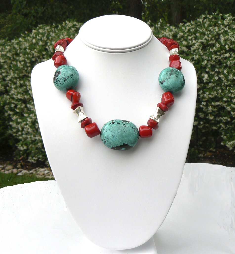 Turquoise and Coral Necklace - SOLD