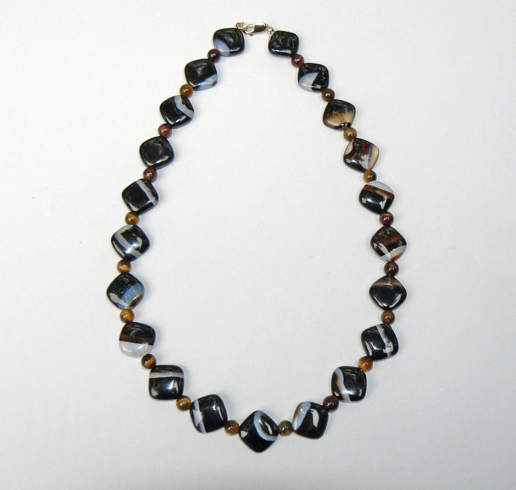 Agate and Tiger Eye Necklace - SOLD
