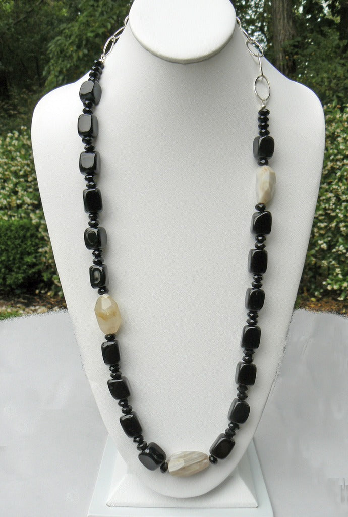 Agate and Onyx Necklace - SOLD