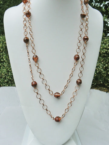 Czech Bead and Copper Chain Necklace- SOLD