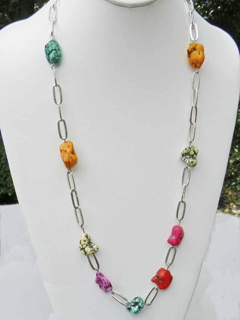 Magnesite and Silver Chain Necklace - SOLD