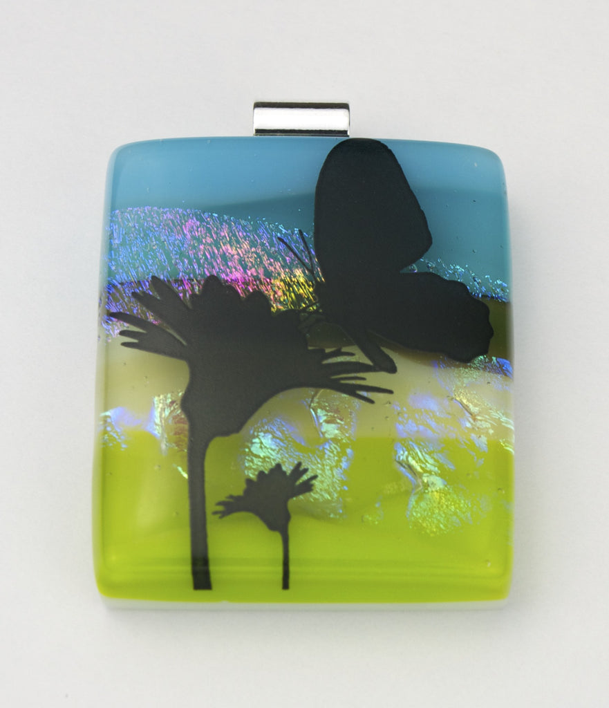 Fused Glass Pendant - Butterfly and Nector