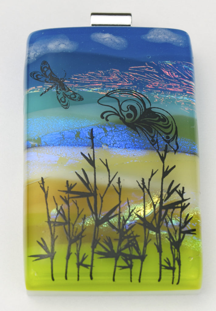 Fused Glass Pendant - Butterflies Amid Grass Reeds