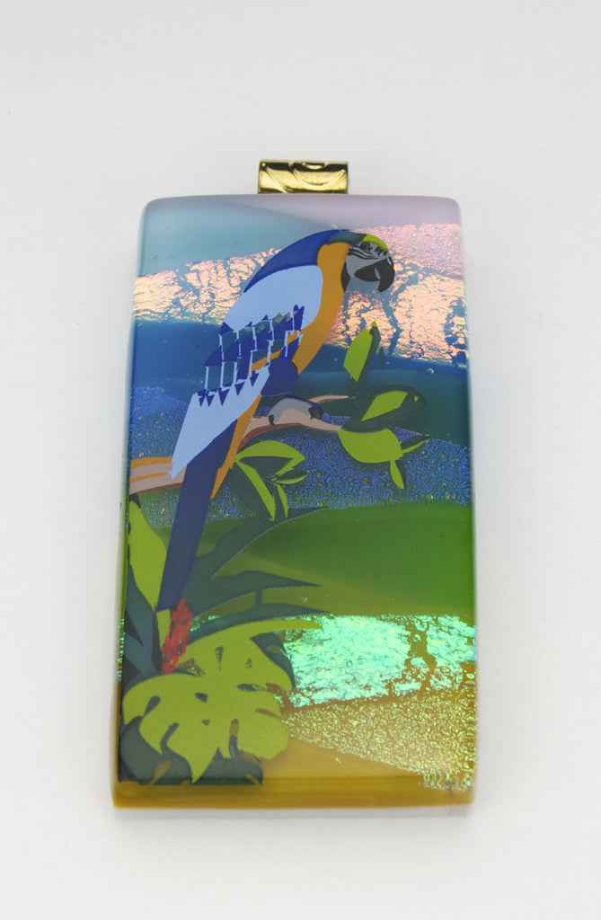 Fused Glass Pendant - Large Parrot