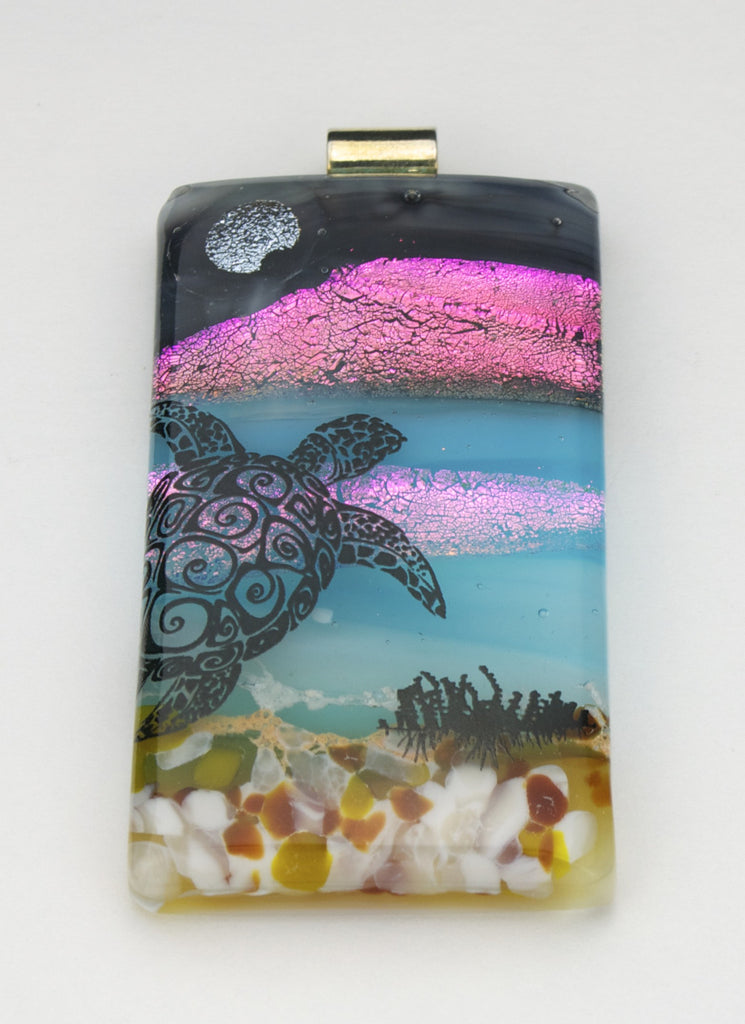 Fused Glass Pendant - Turtle in the Sea
