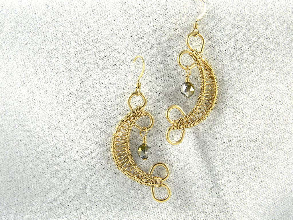 Gold Filled Wire Weave Earrings with Swarovski Crystal - SOLD