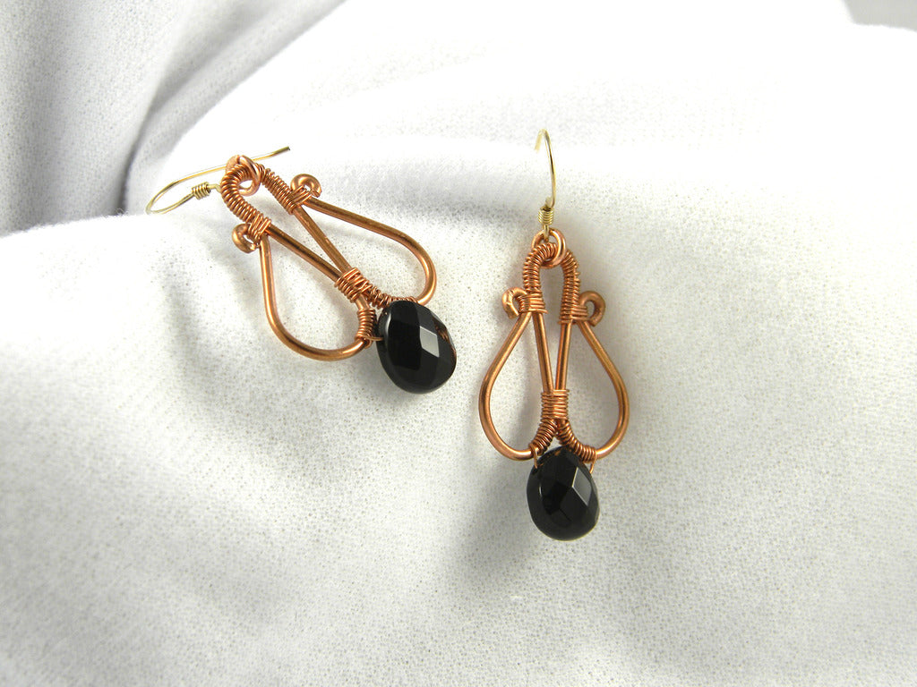 Copper Wire Wrapped Earrings with Onyx- SOLD