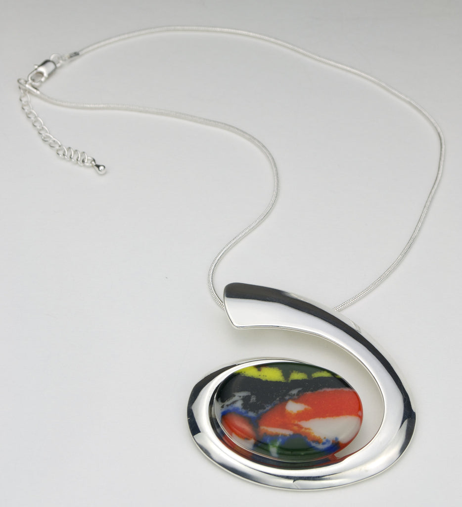 Fused Glass - Silver Plate Oval Pendant - SOLD