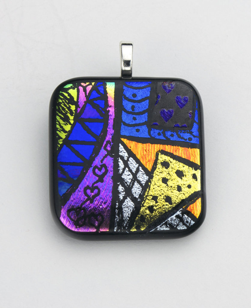 Fused Glass - Picasso Pendant