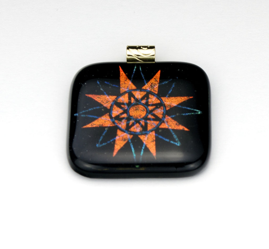 Fused Glass - Sunburst Shadow Pendant