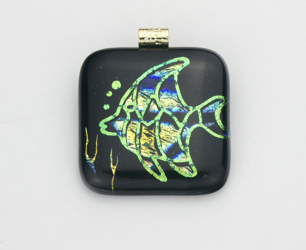 Fused Glass - Shadowed Fish Pendant
