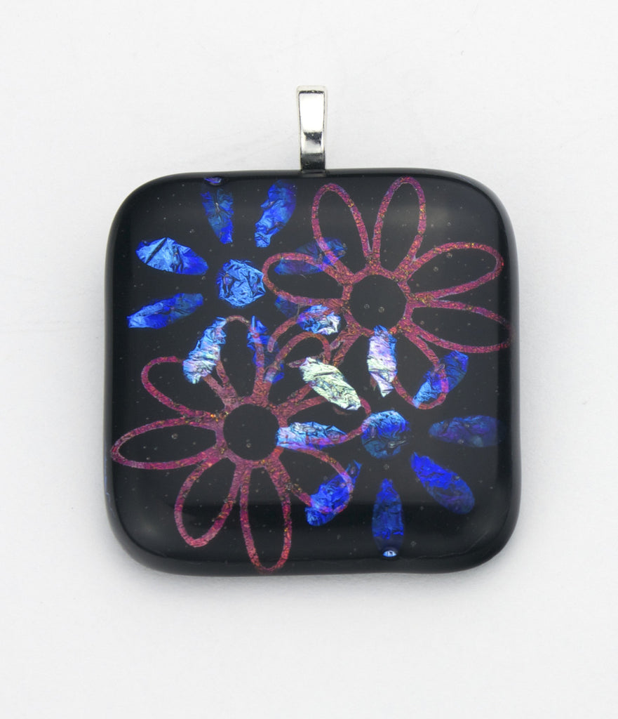 Fused Glass - Flower Power Shadow Pendant - SOLD