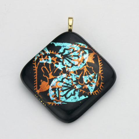 Fused Glass - Paisley Shadow Pendant