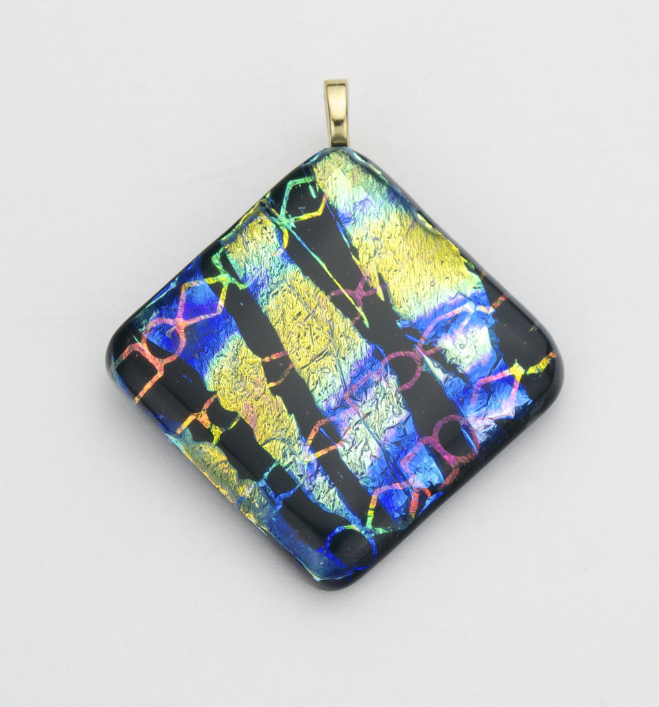 Fused Glass - Chain & Ribbon Shadow Pendant - SOLD