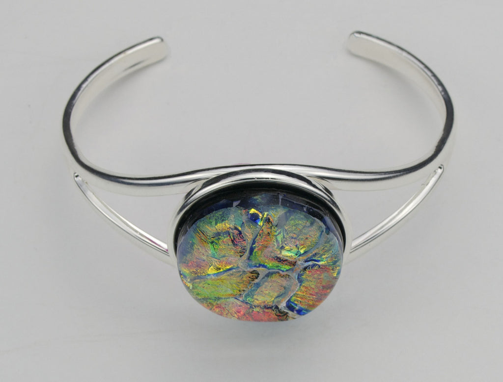 Fused Glass - Silver Plate Bangle Bracelet