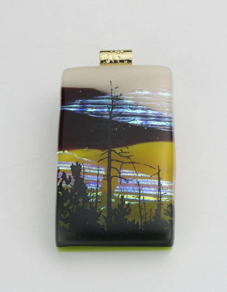 Fused Glass - Winter Tree at Dusk