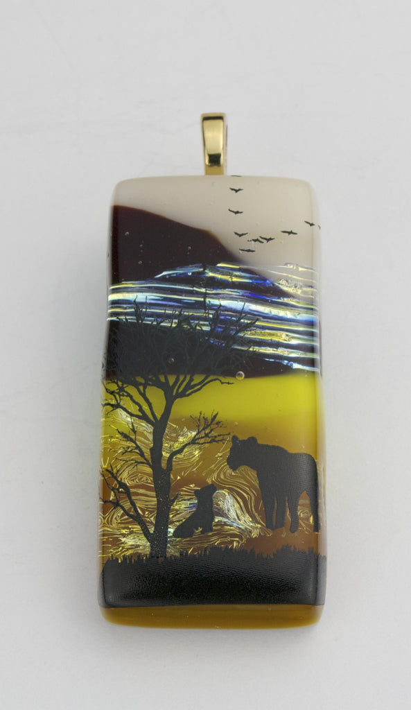 Fused Glass - Lion & It's Cub at - SOLD