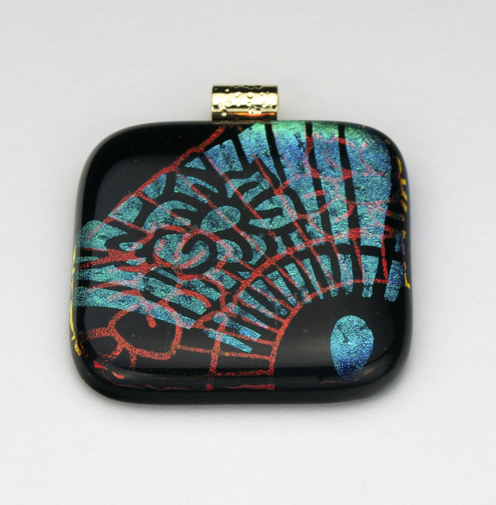 Fused Glass - Floral Fan Shadow Pendant - SOLD