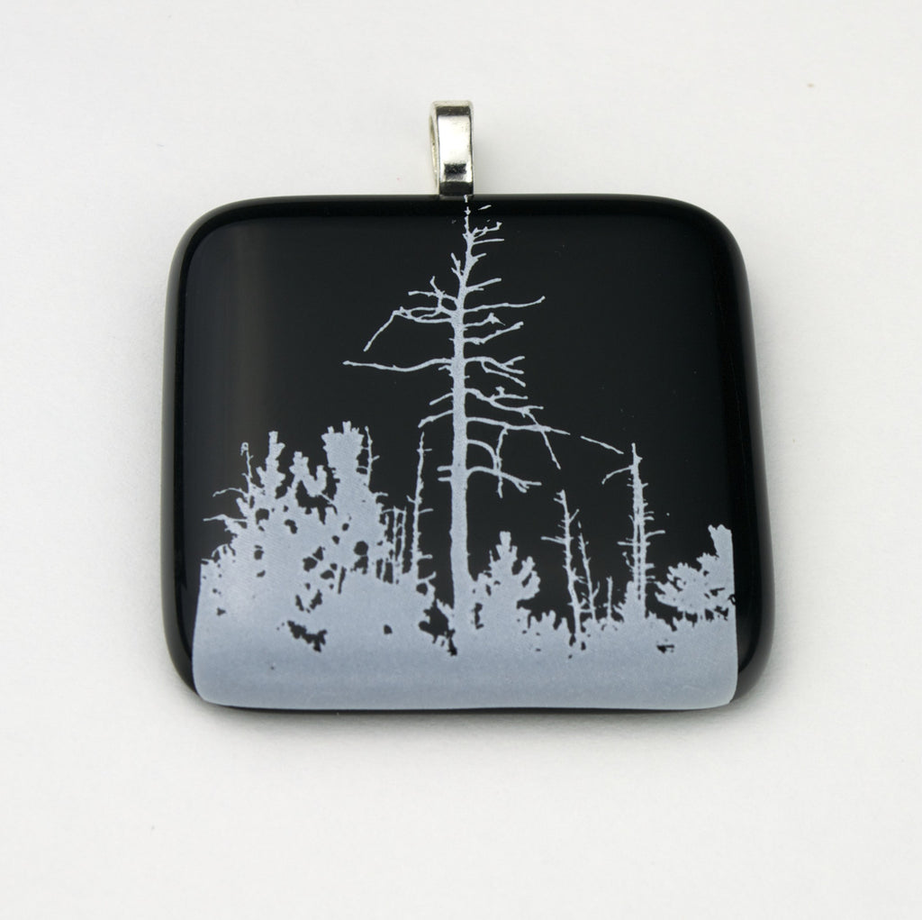 Fused Glass - Winter White Tree Pendant