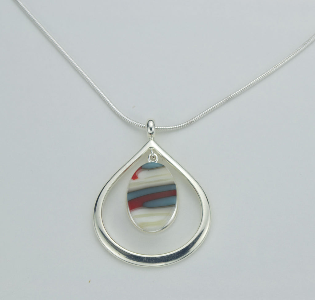 Fused Glass - Silver Plate Teardrop Pendant SOLD