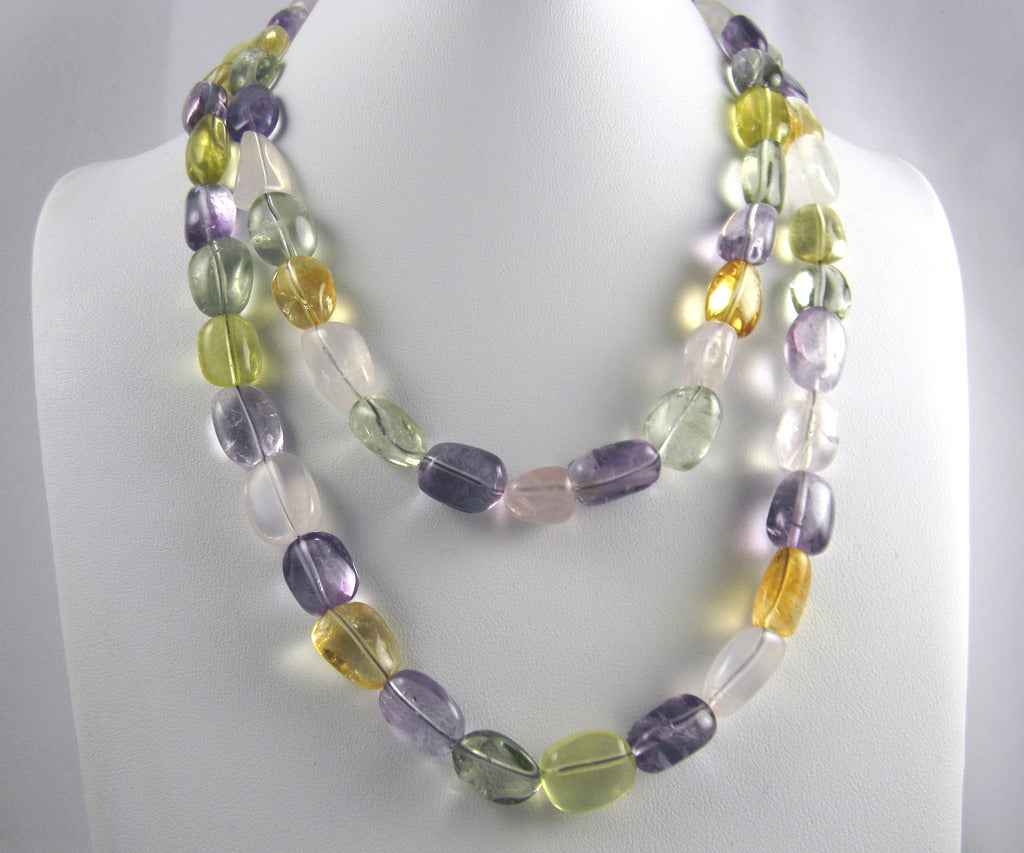 Multi-Color Quartz Double Strand Necklace