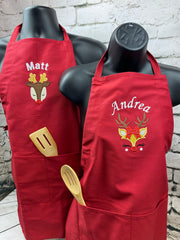 Personalized Christmas Embroidered Apron - Christmas Adult Apron