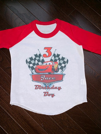 Birthday Shirt - Race Car Flags