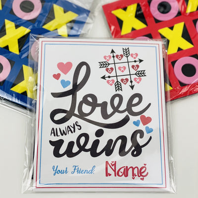 KIDS VALENTINES -Love Always Wins Tic Tac Toe Exchange Cards