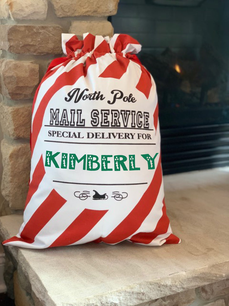 North Pole MAIL SERVICE Candy Cane STRIPED Presents Sack Santa Gift Bag / Sack