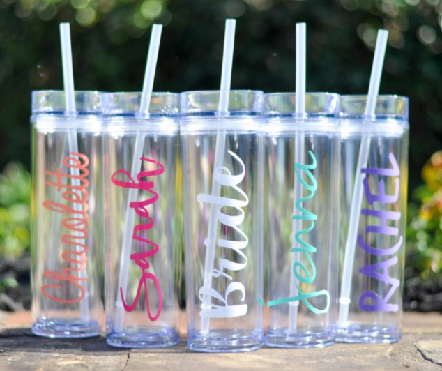 Skinny Tumbler with Straw - Personalized Gift