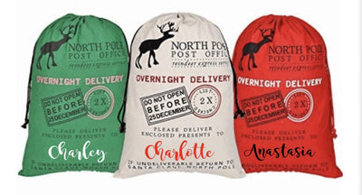 NORTH POLE Post Office Santa Gift Bag / Santa Sack