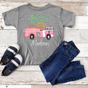 PINK FIRETRUCK WITH CLOVERS ST. PATRICK'S DAY TOP | KIDS SHIRT