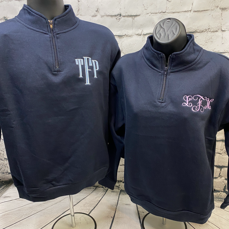 Monogrammed Quarter (1/4) Zip-Up Sweater