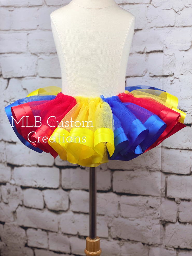 Ribbon Trim Tutu - Multi-colored Tulle