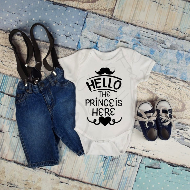 HELLO the Prince is Here - Baby / Baby Boy / Infant Shirt / Hello World / Welcome Baby Boy / Infant One piece