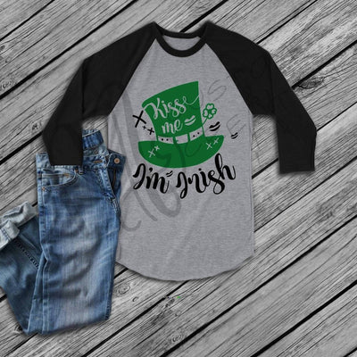 St. Patrick's Day - Raglan Women Shirt - Kiss Me I am Irish - Saint Patrick's Day Shirt
