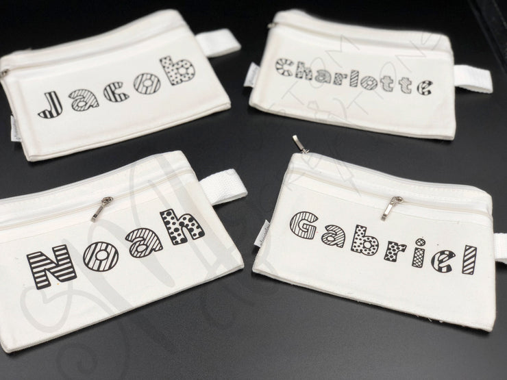 PERSONALIZED COLORING POUCH- Kids Party Favor - Wedding kids Favor- Custom Name Canvas Cosmetic Bag