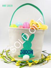 Personalized Canvas EASTER BASKET/BUCKETS - Boy/Girl Easter egg Hunt Pale