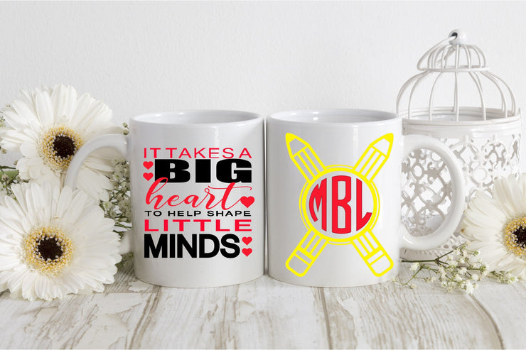 It Takes a BIG Heart to Help Shape LITTLE MINDS Mug - Teacher Appreciation Week Gift - End of Year Gift - Unisex Mug - Monogrammed Mug