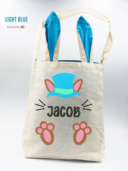 Personalized Burlap EASTER BUNNY ears TOTE (basket/bucket) - Boy/Girl Easter egg Hunt Pale - Monogrammed Tote