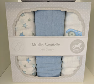 Muslin Swaddle Blue 100% Cotton