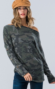 Cold Shoulder Camo Top - Mariedel & Co.