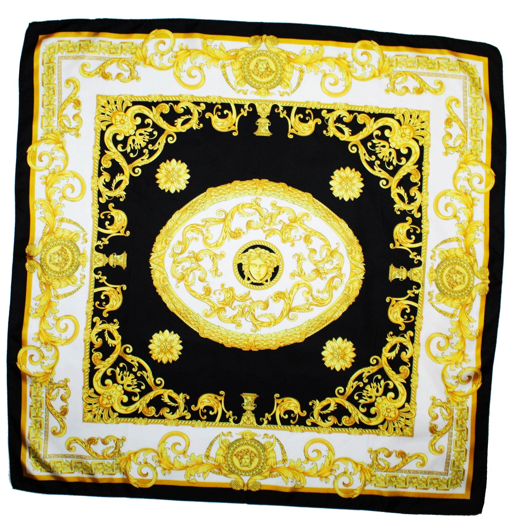 Versace Scarf Black White Gold Baroque
